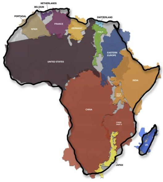 Remodelled map of Africa showing the size of its landmass